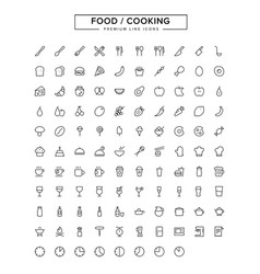 food cooking line icon set vector image