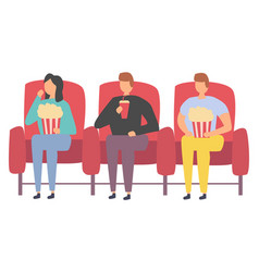 friends watching movie spending time together vector image