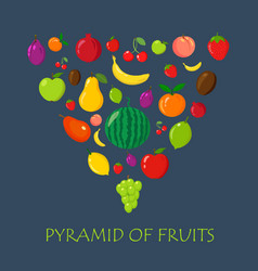 fruits random piramyda on blue flat and cartoon vector image