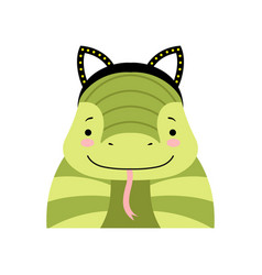 Funny snake wearing ear headband cute cartoon vector