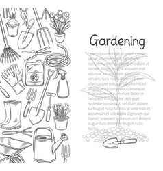 Gardening tools poster outline hand drawn vector