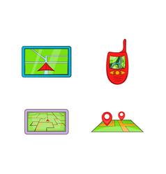 gps icon set cartoon style vector image
