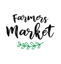 Hand sketched farmers market quote as logo vector
