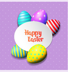 Happy easter eggs and text on colored background vector