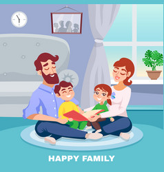 happy family cartoon poster vector image