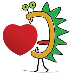 Heart with creature vector