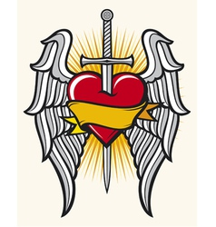 heart with sword and wings vector image