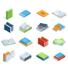 isometric books bookstore or library books vector image