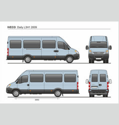 Iveco daily l3h1 2009 passenger van vector