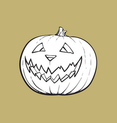 jack o lantern pumpkin with scary face vector image