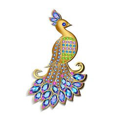 jewelry brooch peacock with precious stones vector image