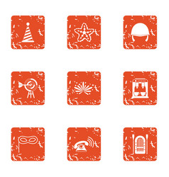 Jubilee icons set grunge style vector