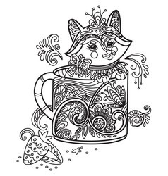 Kawaii cute fox in a cup coloring vector