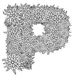 letter p dudling drawing mandala vector image