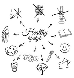 linear set a healthy lifestyle vector image