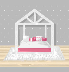little girl bedroom flat style modern vector image