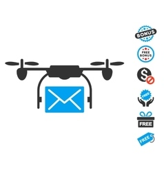 Mail delivery drone icon with free bonus vector