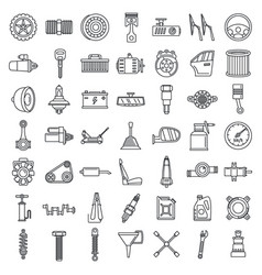 maintenance car part icon set outline style vector image