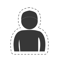 Man front view cap figure pictogram vector