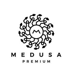 medusa snake logo icon vector image