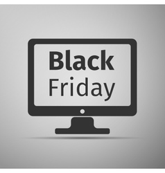 Monitor with Black Friday Sale on screen flat icon vector