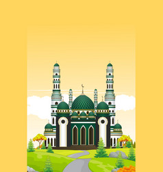 Mosque with trees in sunset view vector