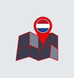 Netherlands map pins are isolated country flags vector