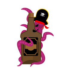 Octopus pirate and bottle of rum poulpe buccaneer vector