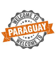 Paraguay round ribbon seal vector