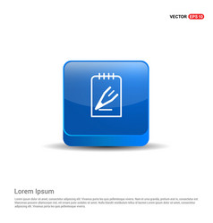 Pencil note icon - 3d blue button vector