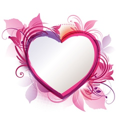 pink floral heart background vector image