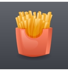 Realistic Franch Fries Fast Food Icon Retro vector image