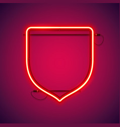 red neon shield shape vector image