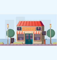 Roadside cafeteria or road cafe building with menu vector