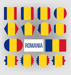 romania flag set official romania flag vector image