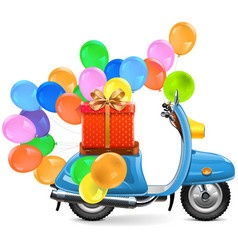 Scooter with balloons and gift vector