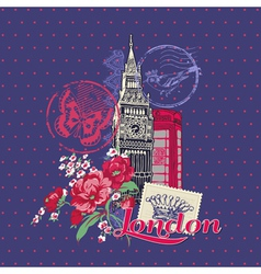 Scrapbook Design Elements - London Vintage Card vector image
