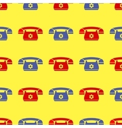 Seamless Retro Red Blue Phone Pattern vector image