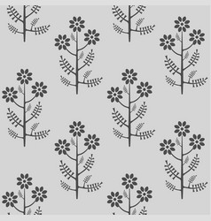 Seamless stylized grey graphical chamomile pattern vector