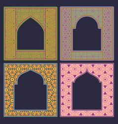 Set arched patterned frame in oriental vector