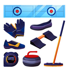set curling equipment and sports accessories vector image