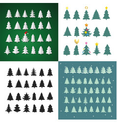 set of christmas tree silhouette design set vector image