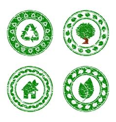 set of grunge eco stamps vector image