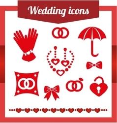 Set red wedding icons jewelry earrings vector image
