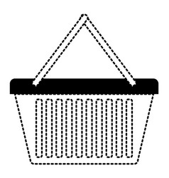 shopping basket icon in black dotted silhouette vector image