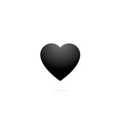 simple black heart emoticon design vector image