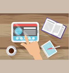 tablet technology with elearning documents and vector image
