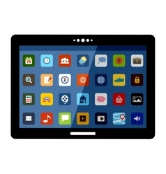 Tablet with colorful application icons vector