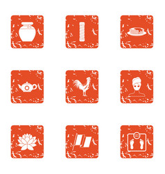 Tea period icons set grunge style vector