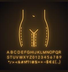 Thigh lift surgery neon light icon vector